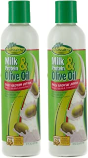 Milk Protein & Olive Oil Daily Hair Growth Lotion Repairs, Rebuilds, Moisturizes and Promotes Growth for Soft, Healthy, Manageable Hair - Sofn'Free GroHealthy - Pack of 2