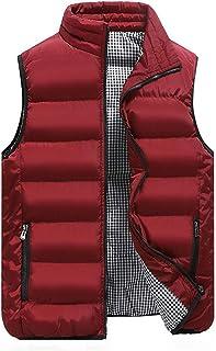 Men Vest Winter Vest Jacket Outdoor Light Vest Sport Sleeveless Puffer Vest with Pocket Stand Collar Sweatshirt Warm Vest ...