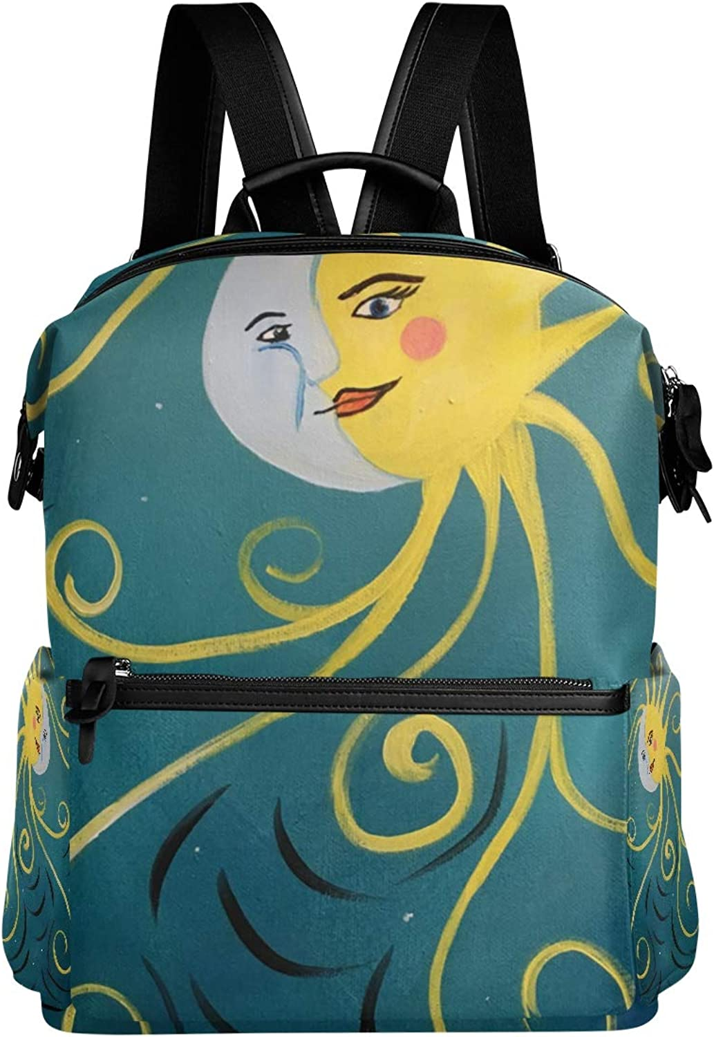 MONTOJ Awesome Sun and Moon Leather Travel Bag Campus Backpack