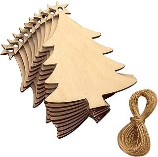 EBTOYS Christmas Tree Ornaments Christmas Wooden Hanging Plaque Christmas Tree Hanging Sign Hanger Decoration,10 Pack