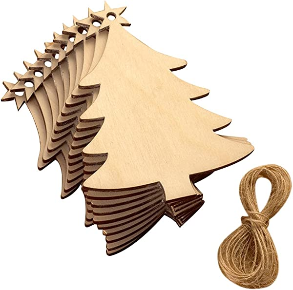 EBTOYS Christmas Tree Ornaments Christmas Wooden Hanging Plaque Christmas Tree Hanging Sign Hanger Decoration 10 Pack