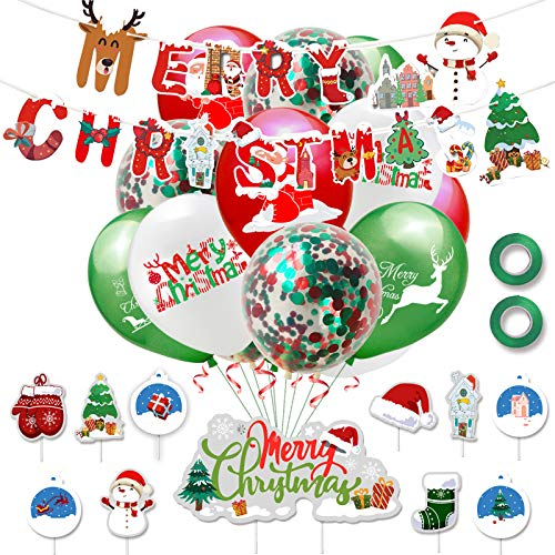 Yisscen Set di palloncini natalizi, set di palloncini in lattice, Palloncini di Natale con striscioni di buon Natale, per Natale Baby Shower Forniture per decorazioni per feste di San Valentino