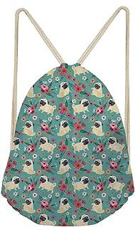 Fun Pug Dog Floral Print Drawstring Backpack Shoulder Bags Lightweight Gym Bag Sackpack for Women Girls