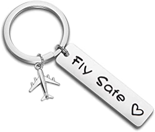MAOFAED Pilot Gift Fly Safe Keychain Traveling Keychain Flight Attendant Gift