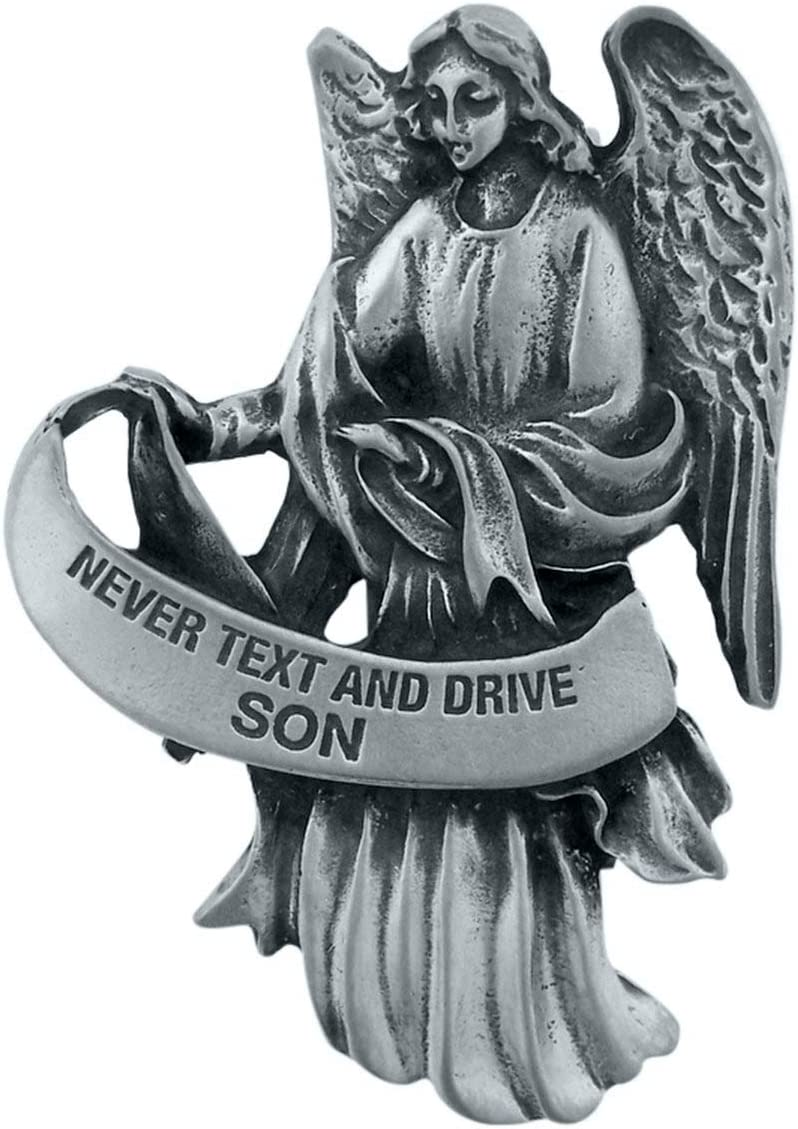 WJ Hirten Pewter Guardian Angel Visor Clip 2 1//2 Inch Never Text and Drive Daughter