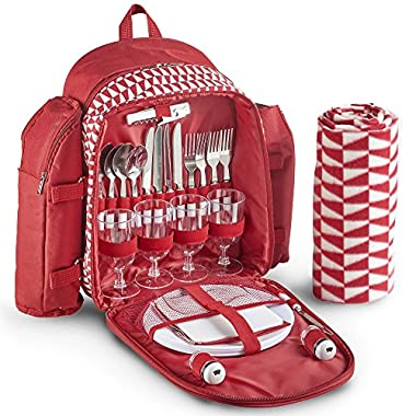 VonShef 4 Person Geo Red Outdoor Picnic Backpack Bag Set With Blanket – Includes 29 Piece Dining Set & Insulated Cooler Compartment to Keep Food Chilled for Longer