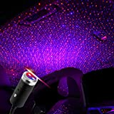 Car Roof Star Night Light, Sound Activated Strobe with 3 Colors, Car Ceiling Light, Adjustable USB Flexible Interior LED Show Romantic Atmosphere Star Night Projector for Car,Bedroom,Party (Blue&Red)