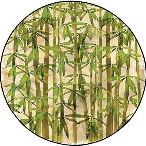 Bamboo Luxury Round Rugs Comfy Bedroom Floor Rug Clump of Stalks Japanese Diameter 23.6 in(60cm)