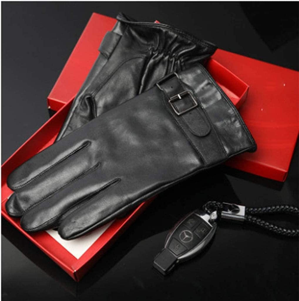 RSQJ Men's Leather Gloves Men's Winter Thick Warm and Velvet Touch Screen Driving Riding Leather Men's Gloves (Color : A, Size : X-Large) (Color : D, Size : Large)