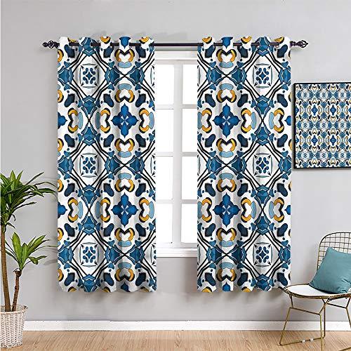 Pcglvie Cortinas opacas europeas de alta calidad, 160 cm de largo, azulejos portugueses, muebles de protección de 163 cm de ancho x 63 cm de largo