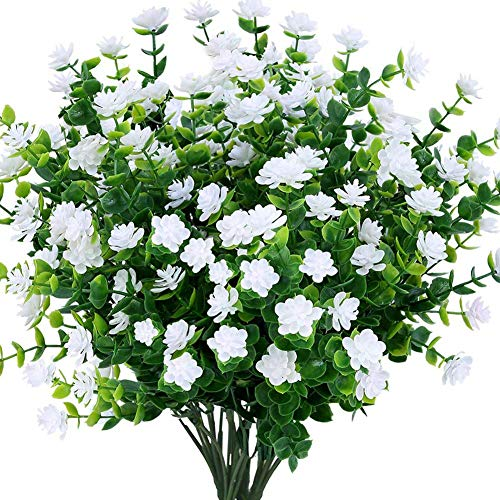 Msrlassn Künstliche Blumen,4 Stück Kunstblumen Grün UV-beständige Pflanzen Sträucher Unechte Blumen Innen Draussen für Zuhause Garten Braut Hochzeit Party Dekor (Weiß)