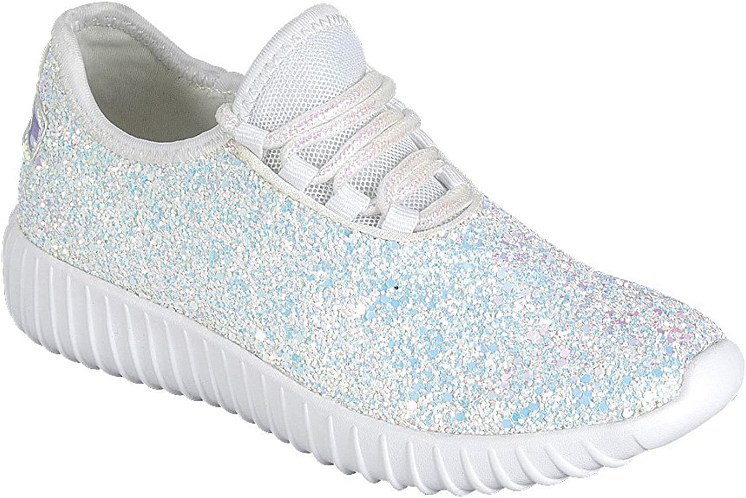 Forever FM99 Toddler and Girl's Glitter Lace Up White Sole Street Sneakers
