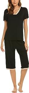 مجموعة منامة من Ekouaer للنساء بأكمام قصيرة وسروال كابري ملابس نوم مريحة كاجوال S-XXL