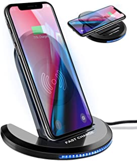 ELEGIANT Wireless Charger, 10W Qi-Certified Wireless Charging Pad Stand 0 to 90 Degrees Adjustable Fast Charging Galaxy S10 S10 Plus S10E S9,Compatible with iPhone 11 11 Pro XS MAX XR XS X 8 8 Plus