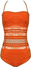 UONBOX Women's Crochet Lace Halter One-Piece Bandage Bathing Suit Swimsuit Swimwear