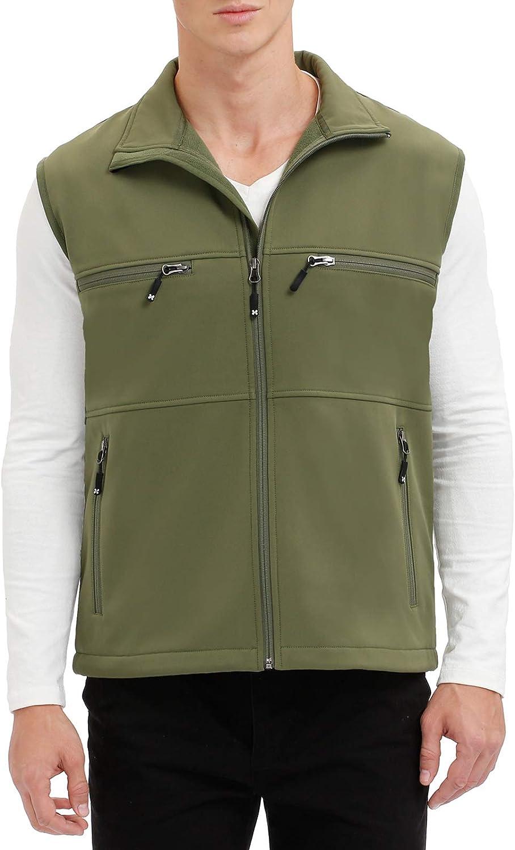 Men's Windproof Fleece Lined Ranking TOP14 Jacket Zippered OFFicial shop Sof Full Sleeveless