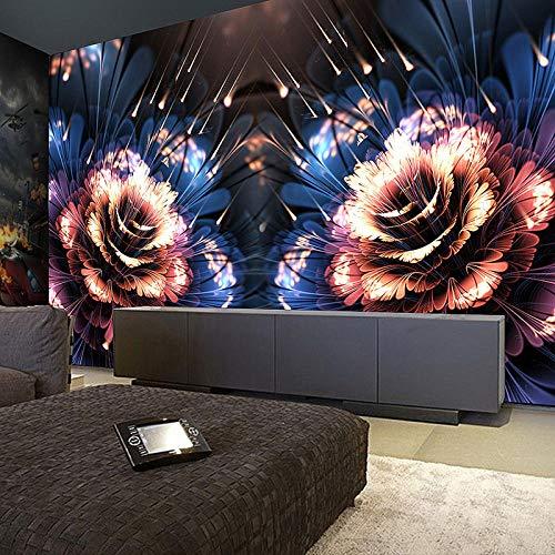 XLXBH 3D muurschildering zelf-hechtend behang fotobehang modern 3D driedimensionale fluorescerende bloem muurschildering KTV Bar Club entertainmentplek creatieve decoratie behang, kinderkamer kantoor E 400x280 cm (BxH) 8 Streifen - selbstklebend