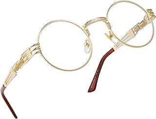RANHUU Steampunk Round Glasses for Men and Women John Lennon Glasses Quavo Circle Metal Frame Eyewear