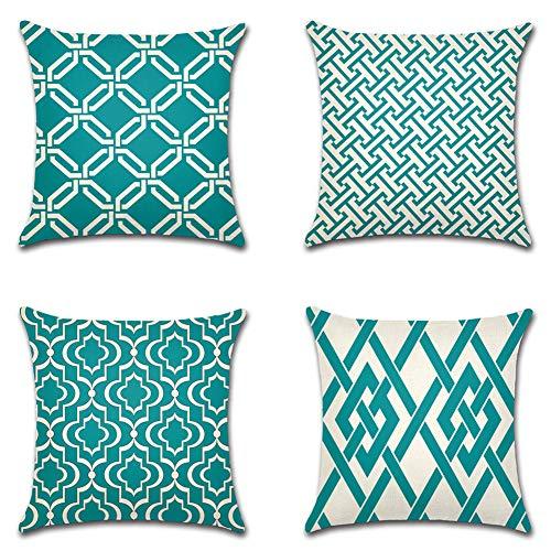 Artscope 4er Set Kissenbezug Moderne Geometrische Muster Dekokissen Kissenhülle Set Kissen Fall für Sofa Auto Schlafzimmer 45x45cm Blau