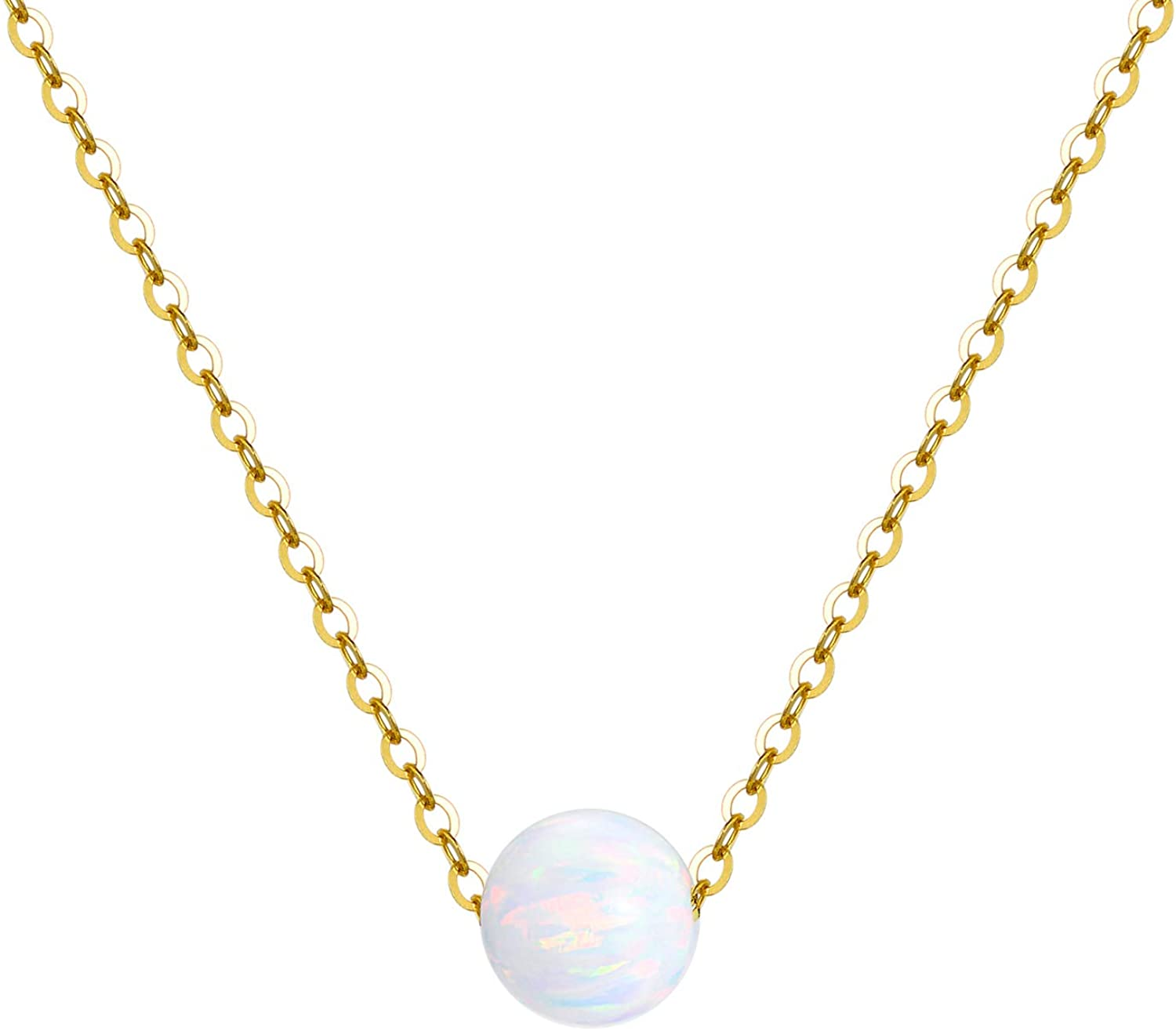 14K Solid Gold Necklace for Women, Yellow Gold Simulated Opal/Turquoise Bead Choker Pendant Necklaces Fine Jewelry Gifts for Mom, Wife, Girls, 16+2 inch