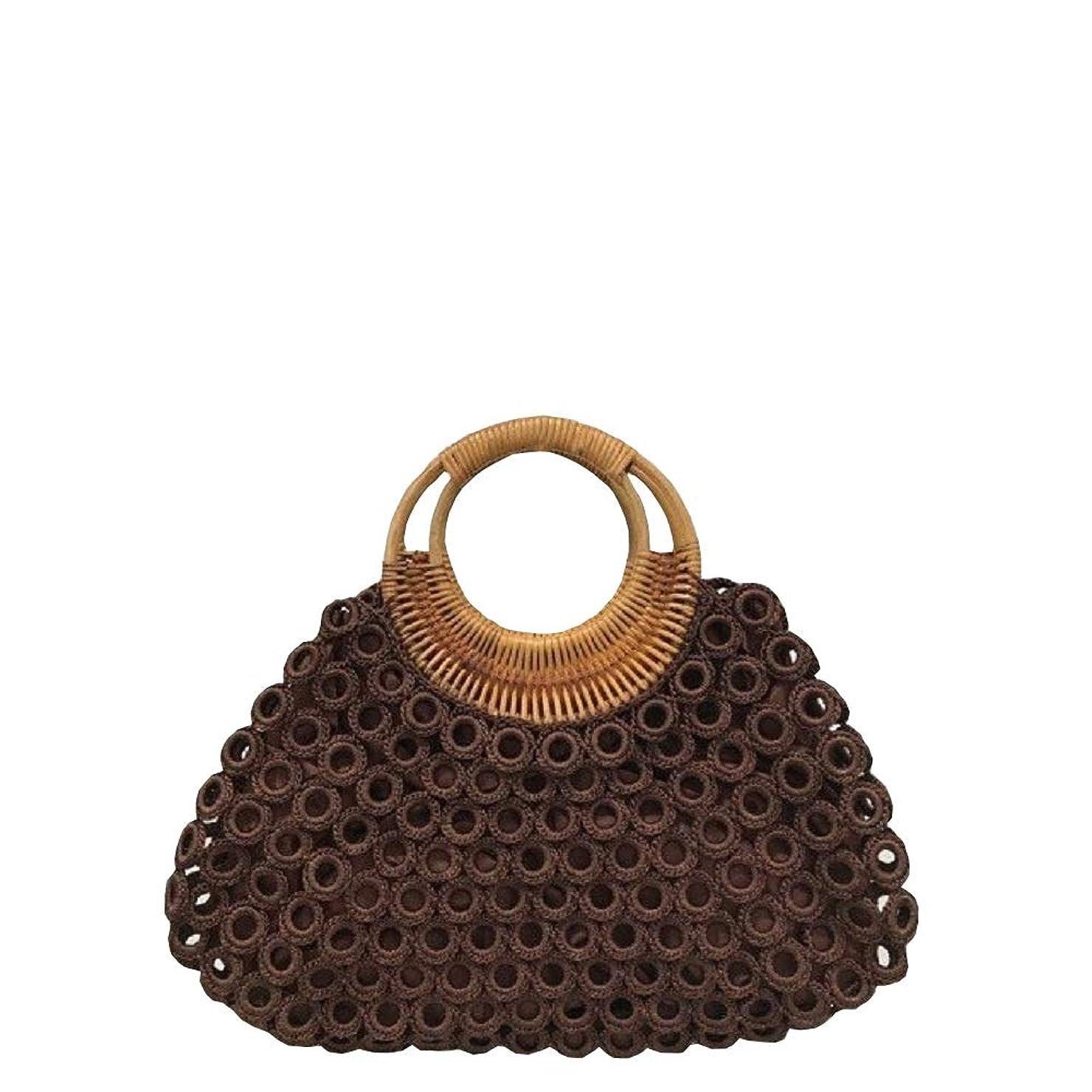 おばあさん樫の木長さベトナムバッグ リング編み ハンドバッグ 手提げ 鞄 ハンドメイド ベトナム雑貨