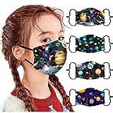 Rosennie 4 Stück Kinder Outdoor Baumwolle Mundmasken Staubdichte Gesichtsmasken Wiederverwendbar Mundschutz Multifunktionstuch 3D Cartoon Bedruckte Bandana für Jungen und Mädchen