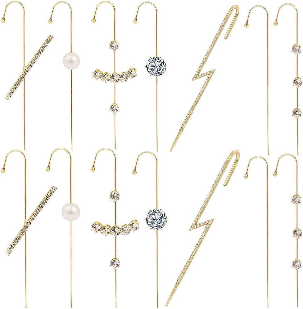 Rumfo 7 Pairs Zircon Earrings Ear Cuff Wrap Crawler Hook Earrings Diagonal Needles Wrapped Earrings Gift for Mother Sister Girlfriend