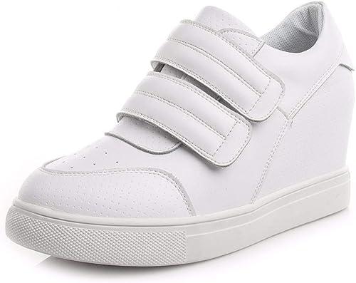 HBDLH-Chaussures pour Femmes du Velcro des Chaussures des Tennis Blanches Chaussures en Cuir.