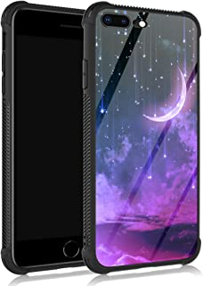 iPhone 8 Plus Case,Purple Star Crescent iPhone 7 Plus Cases for Girls,Anti Scratch Reinforced Corners Tempered Glass Back ...