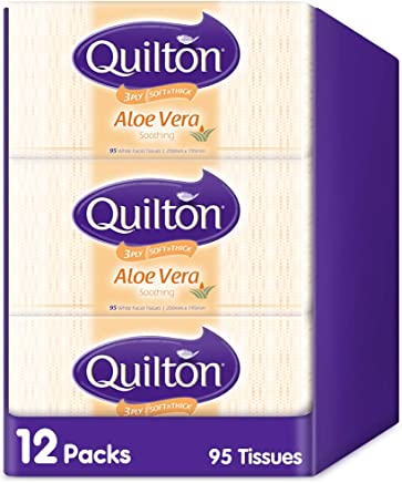 Quilton 3 Ply Aloe Vera 95 Facial Tissues 12 Pack, 1140 count, Pack of 1140