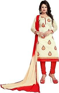 Saumya Designer Women's Cream Cotton Semi Stitched Salwar Suit