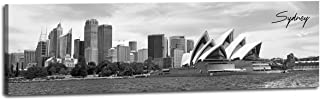 Sydney Opera House Skyline Australia Art Wall Decor Canvas Print Retro World Famous City Posters Museum Building Picture Painting Black & White Ocean Sea Beach Modern Artwork for Home Office Bedroom