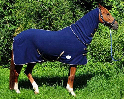 AMKA Fleecedecke Combo Abschwitzdecke mit Halsteil aus Fleece dunkelblau