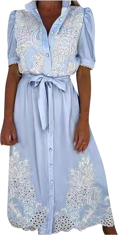 Sun Dresses Women Summer Women Casual Lace Short Sleeve Corset Bandage Printing Swing Dress Casual Sexy Boho