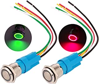 Blue and Green MonkeyJack 2 Pieces Car Truck 3Pin SPST Toggle Switch Rocker 12V 20A with LED Light