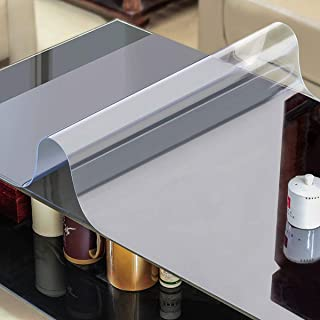AiXiAng Custom 2.0mm 24 x 48 Inches Waterproof Clear PVC Table Cover Protector Rectangle Plastic Tablecloth for Dining Table, Desk,Lab Bench,Marble Top Table Pads Table Covers Coffe Table Protector