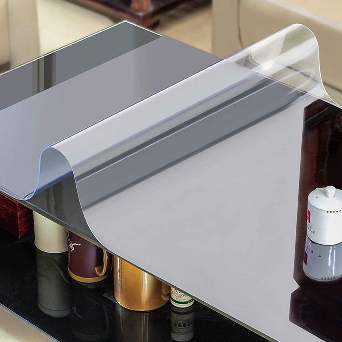 AiXiAng Custom 2.0mm Waterproof Clear PVC Table Cover Protector Rectangle 24 x 48 Inches Plastic Tablecloth for Dining Table, Desk,Lab Bench,Marble Top Table Pads Table Covers Coffe Table Protector