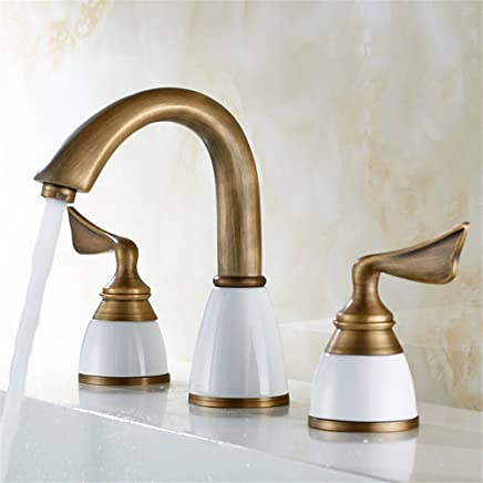 Lpophy Bathroom Sink Mixer Taps Faucet Bath Waterfall Cold and Hot Water Tap for Washroom Bathroom and Kitchen Antique Copper Three Holes Hot and Cold