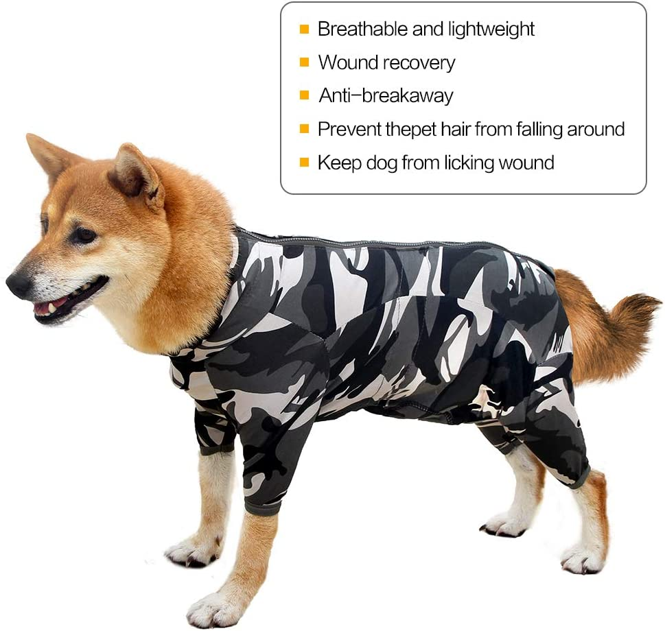 Camouflage,XXS Heywean Dog Surgical Recovery Suit Thunder Shirts for Dogs Long Sleeve Keep Dog from Licking Abdominal Wound Protector E-Collar Alternative After Surgery Wear Pet Supplier