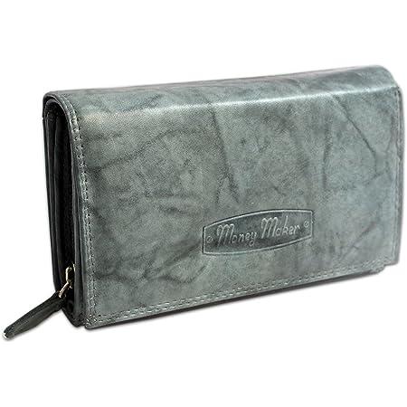 Damen Portemonnaie Große Geldbörse Geldbeutel für Frauen Echt-Leder Portmonee mit RFID Schutz in 5 Farben von jejo-bags … (grau)