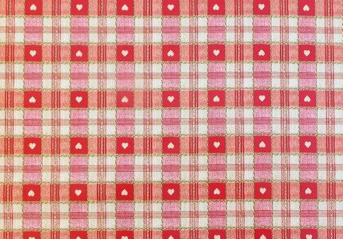 THE TABLECLOTH COMPANY 1 m Pièces de PVC/Vinyle Nappe – Carreaux Rouge et crème avec cœurs