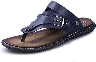 Xujw-shoes, Mens Flops Slippers Flip Flops Thong Sandals Shoes Walking Fashion Antislip PU Leather Flat Heel Wear Resistant Dual Purpose Monk Strap Simple Pure Colors