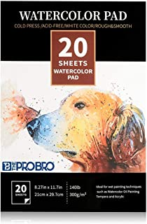THE PRO BRO A4 Watercolor Paper 20 Sheets 300 GSM 21 X 29.7 cm Cold Press Sketchbook for Drawing, Painting, Sketching for ...