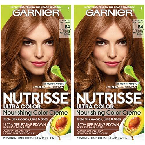 Garnier Nutrisse Ultra Color Nourishing Permanent Hair Color Cream, B4 Caramel Chocolate (2 Count) Brown Hair Dye