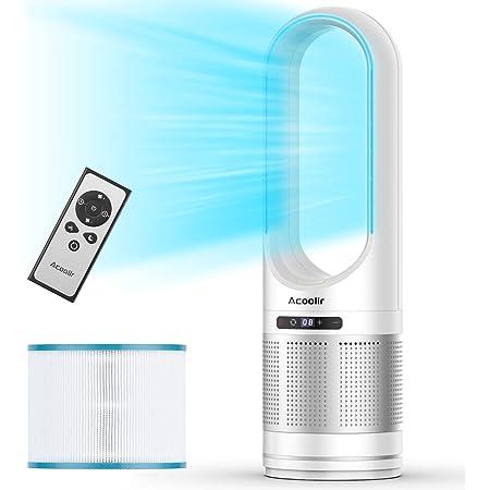 Ventilateur Colonne, Purificateur d'air HEPA , Air Purifier avec, ventilateur Sans Pale Oscillant à 80° avec Télécommande, 8 Vitesses, Minuterie de 8 Heures,pour Chambre à Coucher, Salon, Bureau