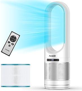 Ventilateur Colonne, Purificateur d'air HEPA , Air Purifier avec, ventilateur Sans Pale Oscillant à 80° avec Télécommande,...