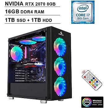 2020 NexiGo Quantum-Flux Gamer Liquid Cooled VR Ready RGB Gaming Computer (Intel 8-Core i7-9700K 3.6GHz up to 4.9GHz, RTX 2070 8GB GDDR5, 16GB DDR4 RAM, 1TB SSD (Boot) + 1TB HDD, Windows 10)