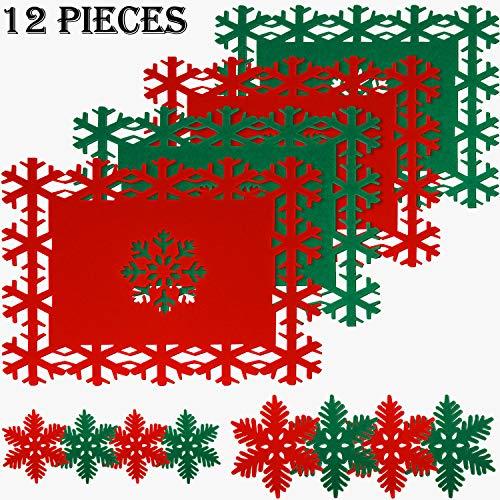 Conjunto de 12 Esteras y Posavaso de Mesa de Navidad Incluye 4 Esteras de Mesa Estera de Cena de Navidad y 8...