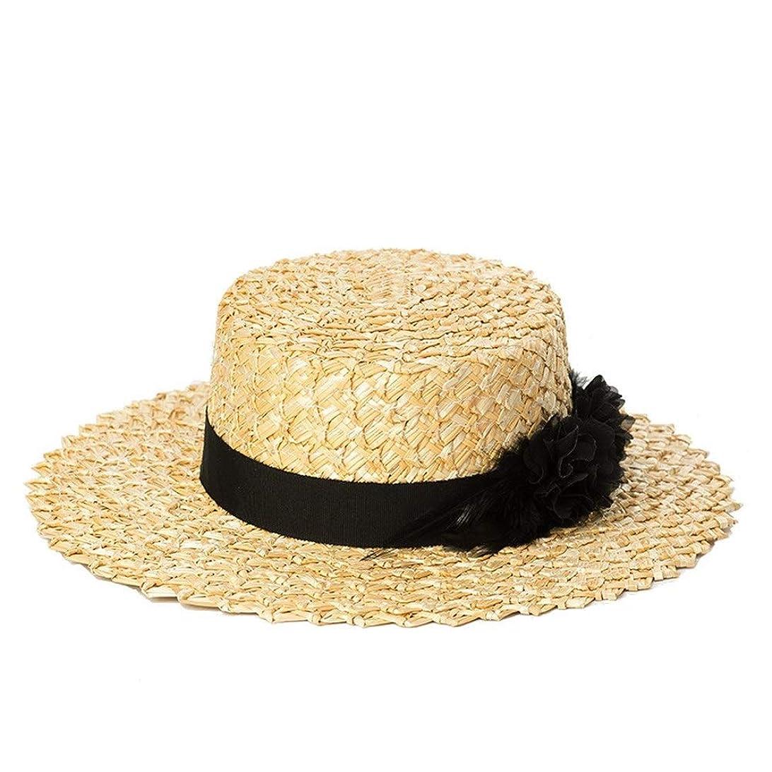 春と夏の羽の花装飾レース麦わら草フラットシルクハットツーリストシェードビーチフラットトップ麦わら帽子