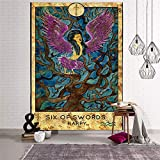 N / A Mandala Tapestry Wall Hanging Sun Moon Tarot Wall Tapestry Psychedelic Witchcraft Wall Cloth Tapestries A16 95x73cm